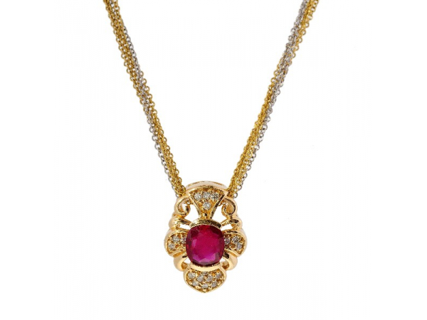 14KYG Ruby & Diamond Necklace - 14kyg Ruby & Diamond NecklaceRuby: 1.49ct Oval FacetedDiamonds: (18) = 0.18ct tw Round Brilliant Cuts