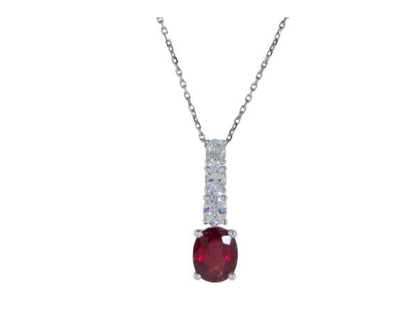 Colored Stone Necklace - 14kwg Ruby and Diamond PendantRuby: (1) = 2.13ct Oval FacetedDiamonds: (3) = 0.72ct tw Oval Faceted