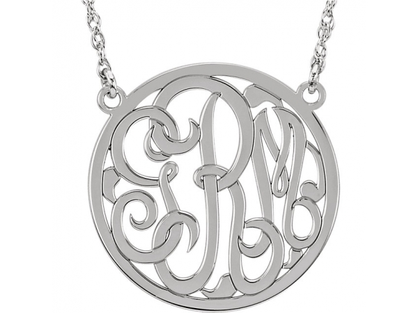 Personalized Jewelry - 10k 25mm Circle Monogram Necklace - image 2
