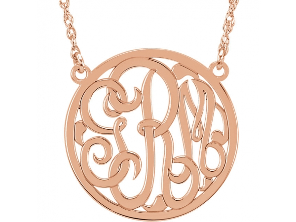 Personalized Jewelry - 14k 25mm Circle Monogram Necklace - image #3