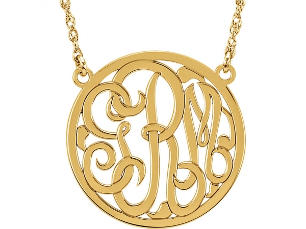 Personalized Jewelry - 14k 25mm Circle Monogram Necklace
