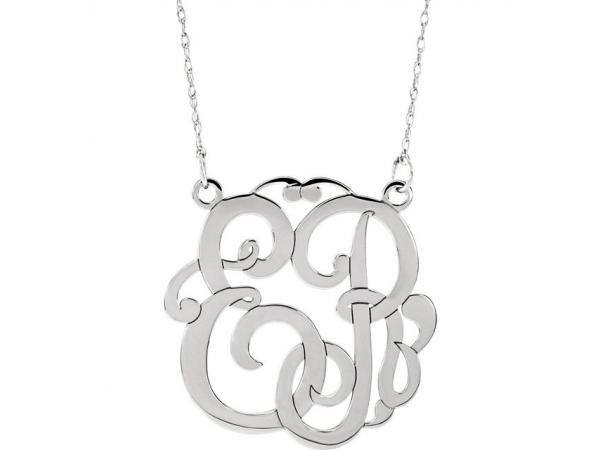 Personalized Jewelry - Sterling Silver 25mm 2-Letter Script Initial Necklace - image #2