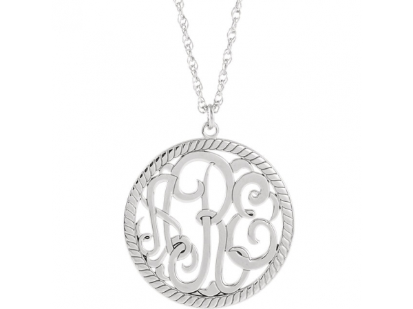 Personalized Jewelry - 10k 25mm Monogram Necklace with Rope Border - image #2