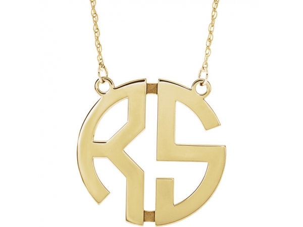 Personalized Jewelry - 14k 25mm 2 Block Initial Necklace