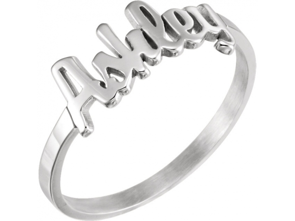Personalized Jewelry - Sterling Silver Script Name Ring - image #2