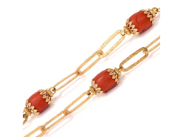 Estate Necklaces - 18kyg Coral Bead and Link Necklace, Estate - image #3