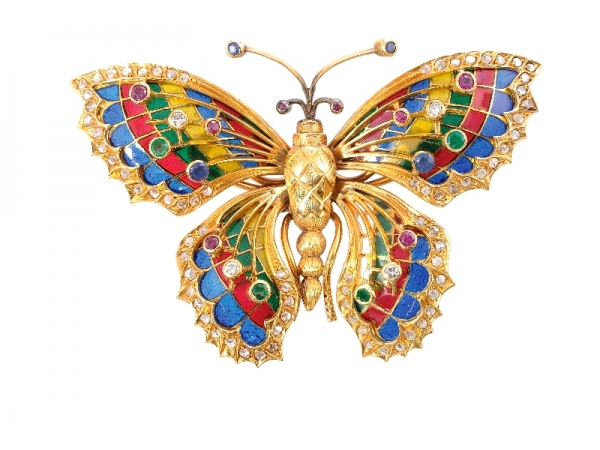 18kyg Estate Plique-a-Jour Butterfly Brooch - 18kyg Estate Plique-a-Jour Butterfly BroochRuby: (8) = 0.34ct tw Round FacetedSapphire: (4) = 0.40ct tw Round FacetedEmeralds: (4) = 0.38ct tw Round FacetedDiamonds: (4) = 0.20ct tw Round Brilliant Cuts                  (76) = 0.76ct tw Rose Cuts