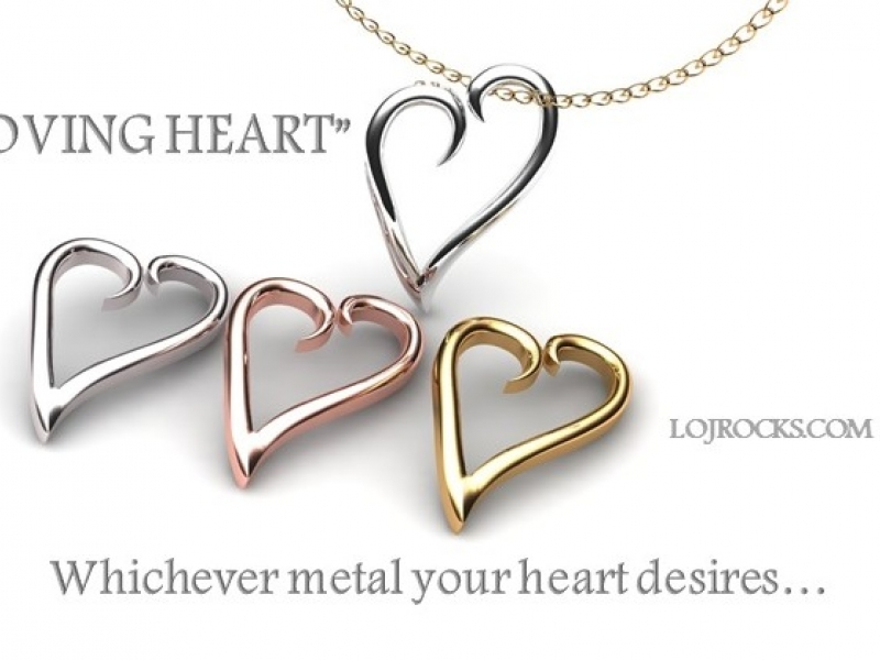 Heart Pendant in Silver or White, Yellow, Rose Gold