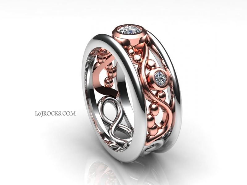 Rose Gold Diamond Ring Rose Gold Ring with Diamonds