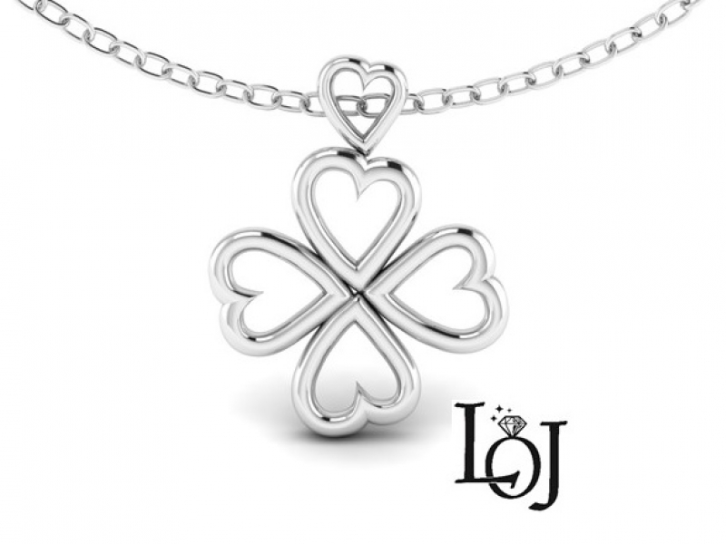 White Gold Pendant with Hearts and 4 Leaf Clover