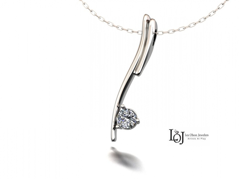 Diamond Pendant in White Gold, add diamonds