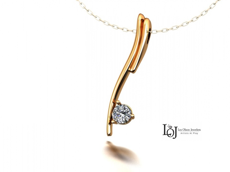 Diamond Pendant, Gold