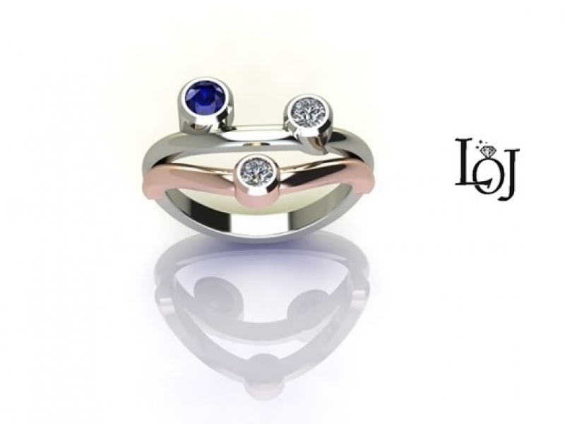 Sapphire Ring with Diamonds, White and Rose Gold Ring