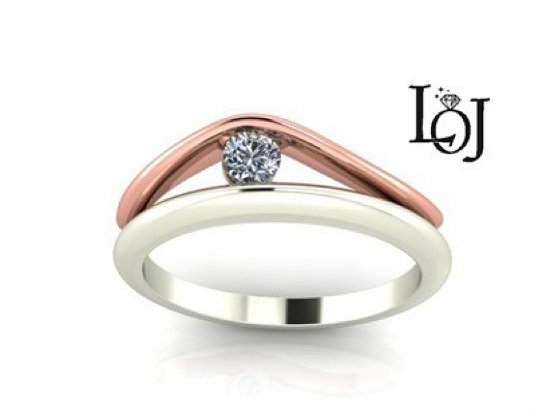 Diamond Ring, White & Rose Gold
