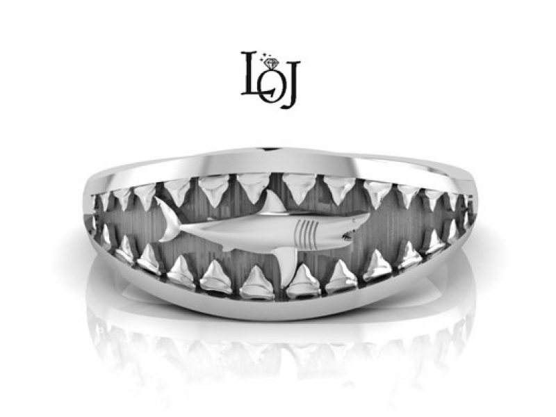 Fish Ring featuring Shark and Jaws in Sterling Silver