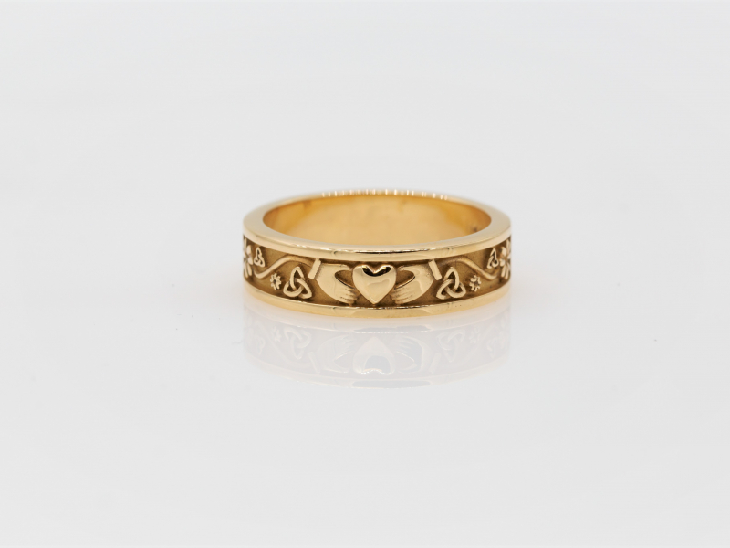Celtic Gold Ring and Wedding Band with Claddagh and Trinity Knots