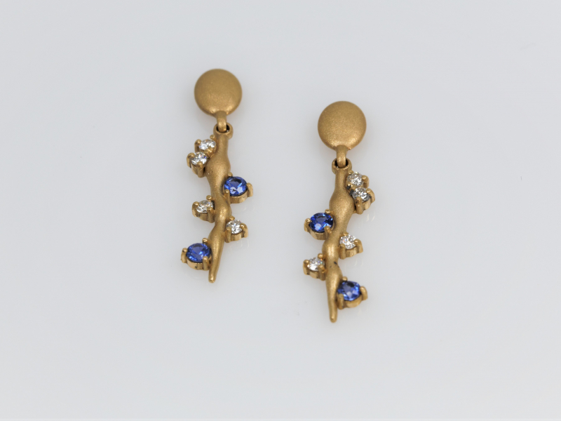 sapphire, sapphire earrings, sapphire and diamond earrings, custom sapphire earrings - Sapphire Vine Earrings