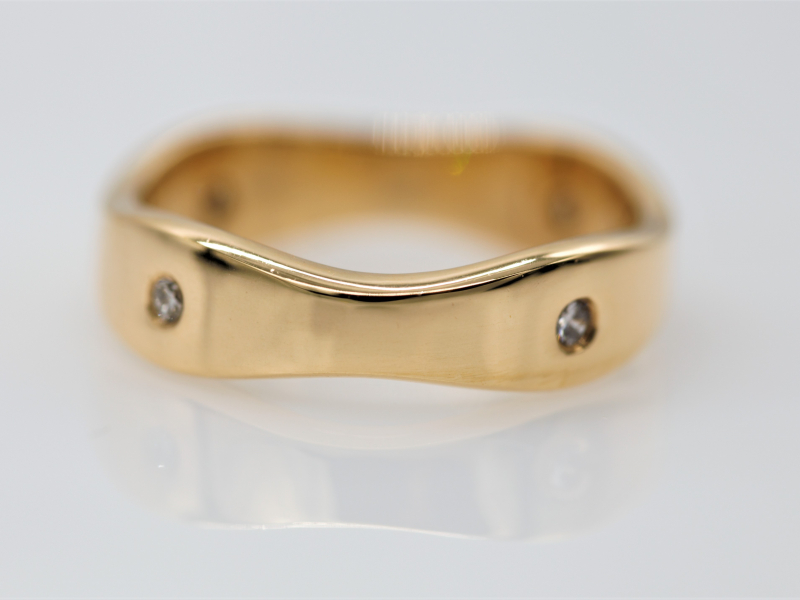 etoile, etoile band, wave gold ring, gold ring with waves - Waving