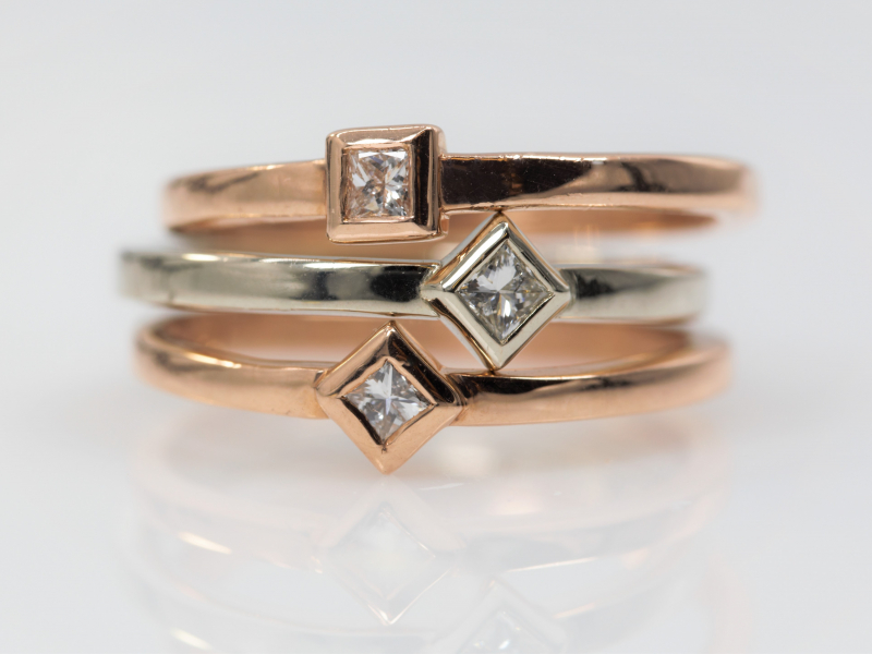 Rings - Princess Diamond Ring 14k Rose Gold  - image 4
