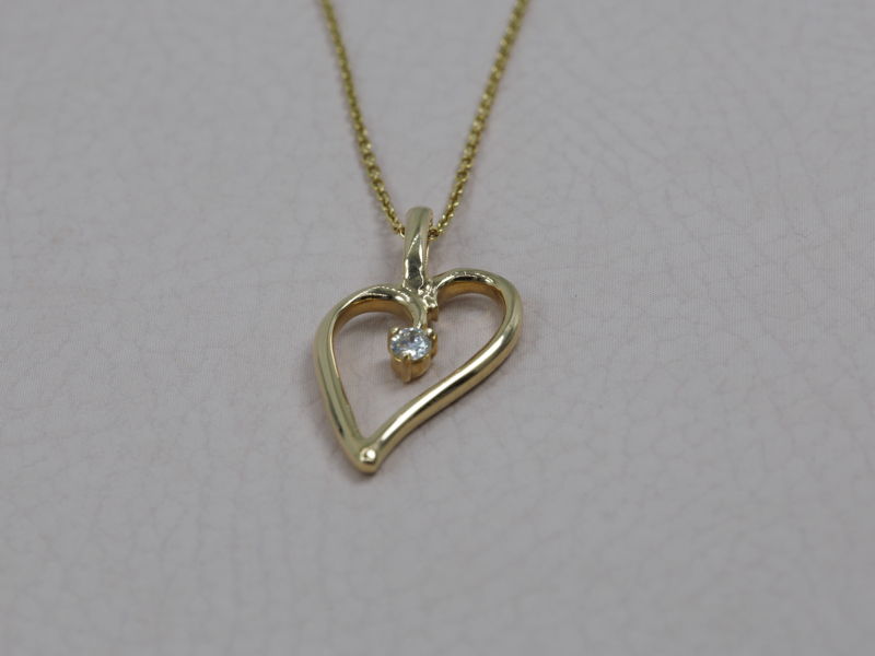 Pendants & Necklaces - Medium Yellow Gold Loving Heart Pendant with diamond - image 4