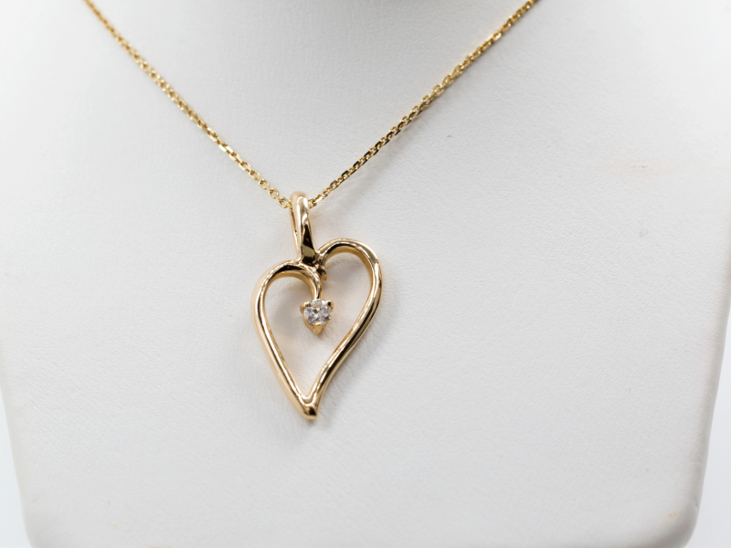 heart shaped necklace, loving heart necklace, heart shaped pendant, custom heart shaped jewlery - Medium Yellow Gold Loving H