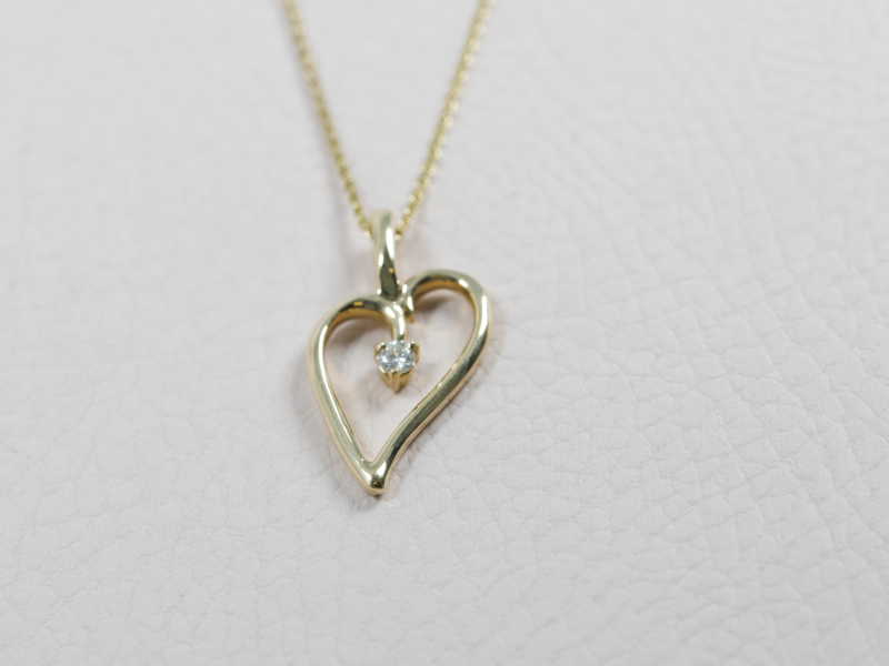 Pendants & Necklaces - Medium Yellow Gold Loving Heart Pendant with diamond - image 2