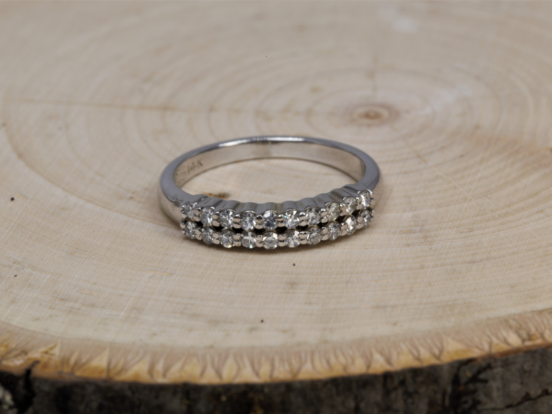 Rings - Double Row Of Diamonds Wedding Band - image 3