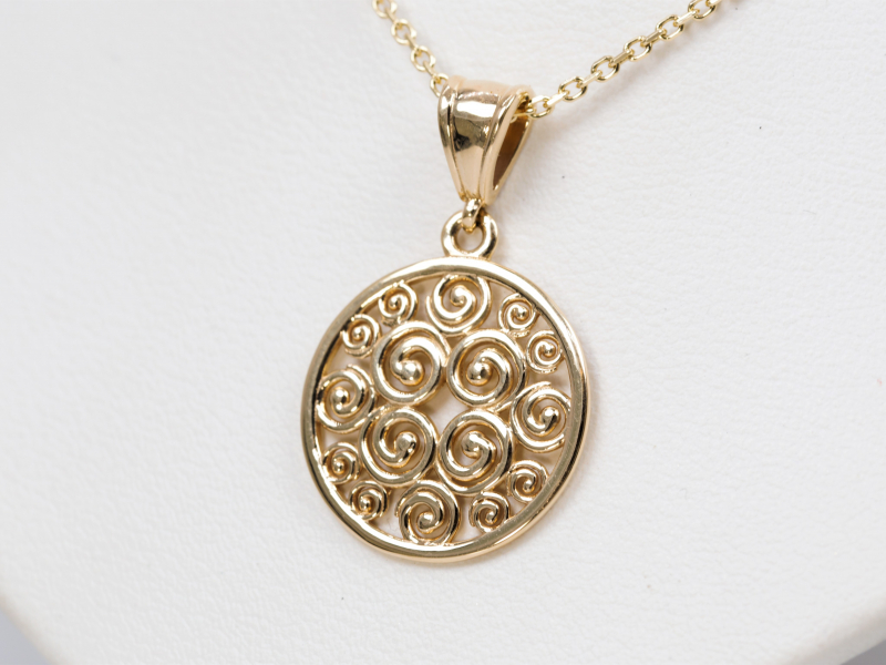 14k Gold Pendant for breast cancer survivors, jewelry that donates to breast cancer