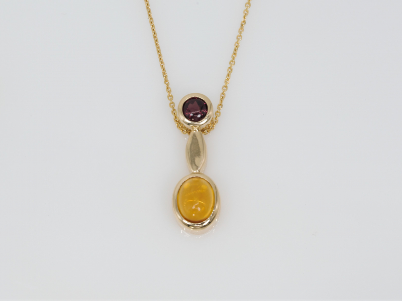 citrine and garnet pendant, necklace, autumn necklace - 14kt Citrine and Garnet Autum Pendant
