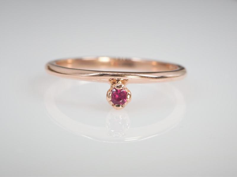 ruby, stackable, dainty, ring, custom - Ladies Ruby Stackable Ring in 14kt Rose Gold