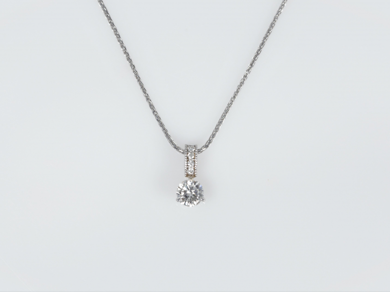single solitaire pendant, diamond bail, single diamond, necklace - Ladies Single Diamond Pendant with Diamond Bail in 14kt Wh