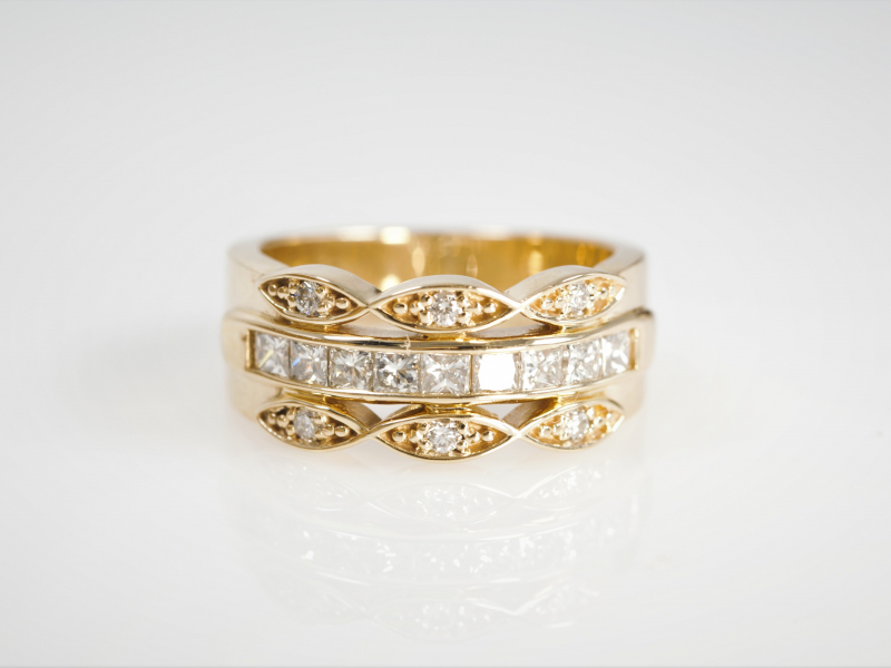 3 rings together, thick ring, 3 bands, fashion, custom - 3 Row Vintage Band with Middle Channel Set Yellow Gold