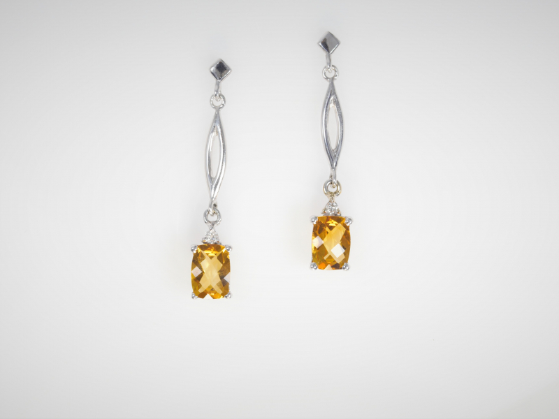 Citrine Dangle Earrings, citrine earrings, yellow gem earrings, 14k whote gold - Citrine Dangle Earrings in 14k White Gold