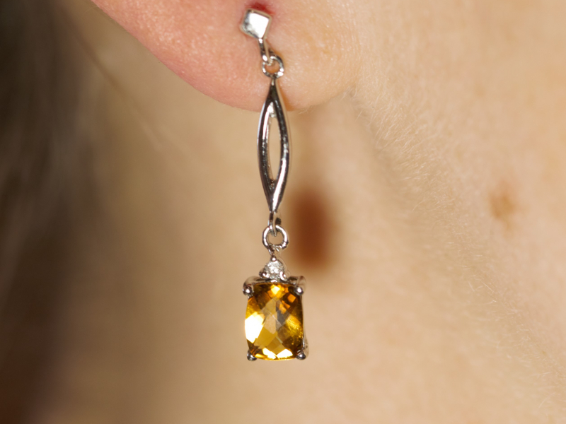 Earrings - Citrine Dangle Earrings in 14k White Gold - image 2
