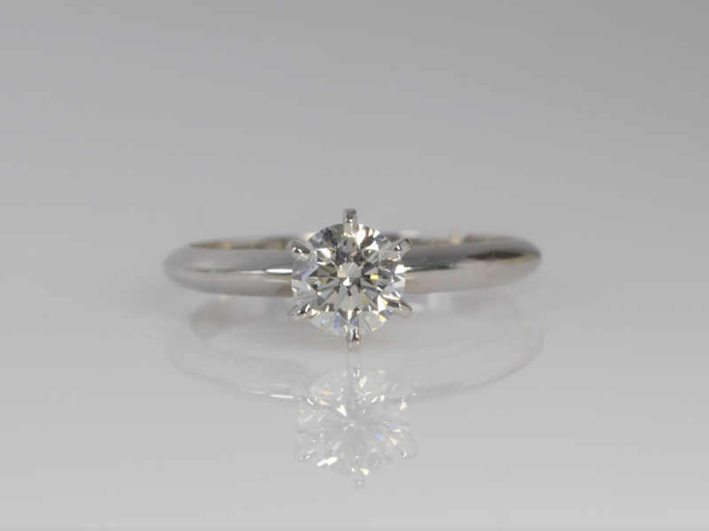 single diamond engagement ring, 14k white gold engagement ring, vintage engagement ring,