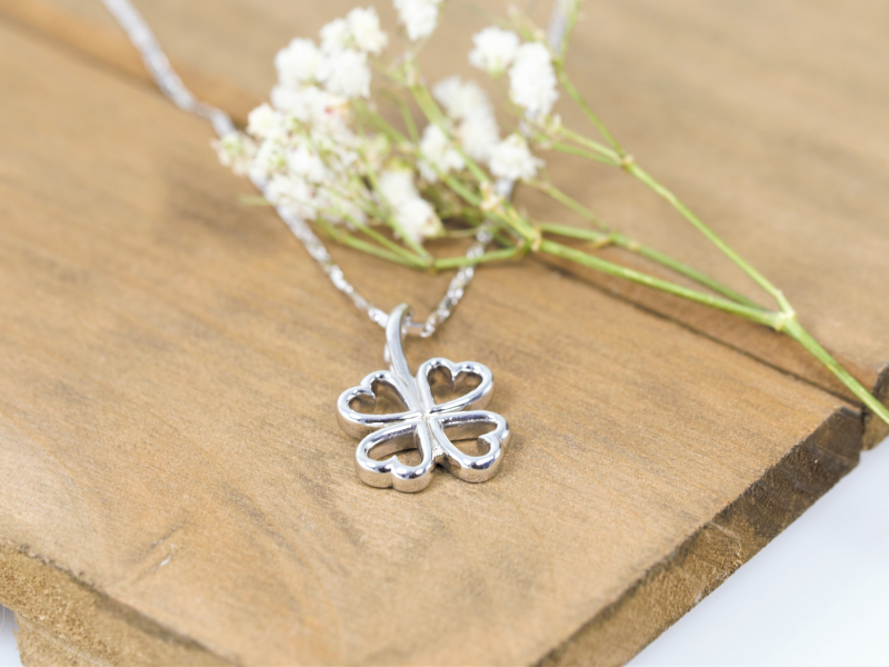 White gold clover necklace, four leaf clover necklace, custom pendant, solid gold