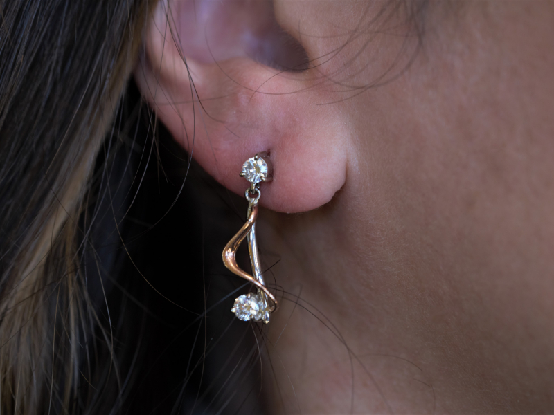 music not earrings, real diamond and gold earrings, high end earrings, expensive earrings Two-Toned Rose and White Gold Diamo