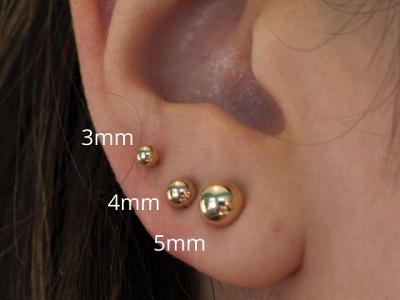 gold balls small, 14k gold earrings for babies