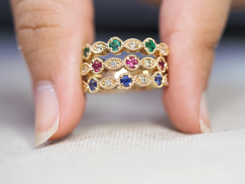 Diamond Rings in Gold and Platnium, Colorful Gemstone, Gold and Silver Rings. We Make Rings Custom on Site and can - image #4