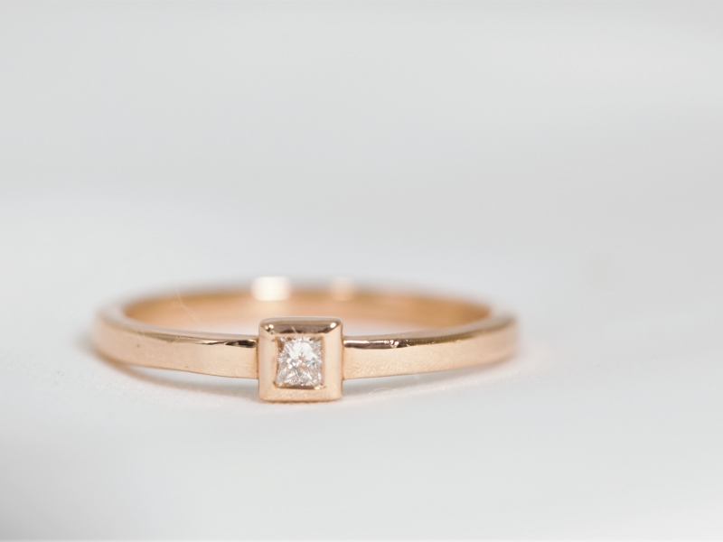 rose gold promise ring, 14k rose gold ring, custom promise, ring - Princess Diamond Ring 14k Rose Gold