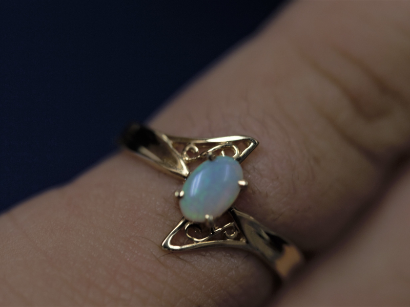 opal pinky ring, pinky rings Opal Ring 14k Yellow Gold Filigree
