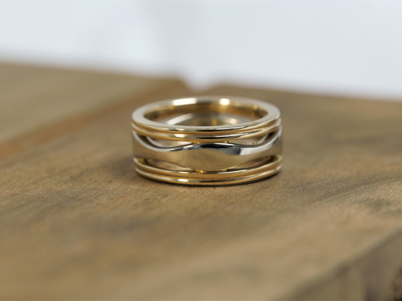 14k two toned custom ring, size 5 two toned ring,  Ripple Two Toned Ring