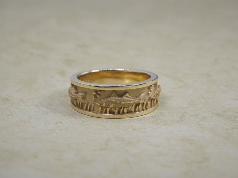 snook ring, mens, fish, wedding band, custom, fish, fisher, gift ideas, for him