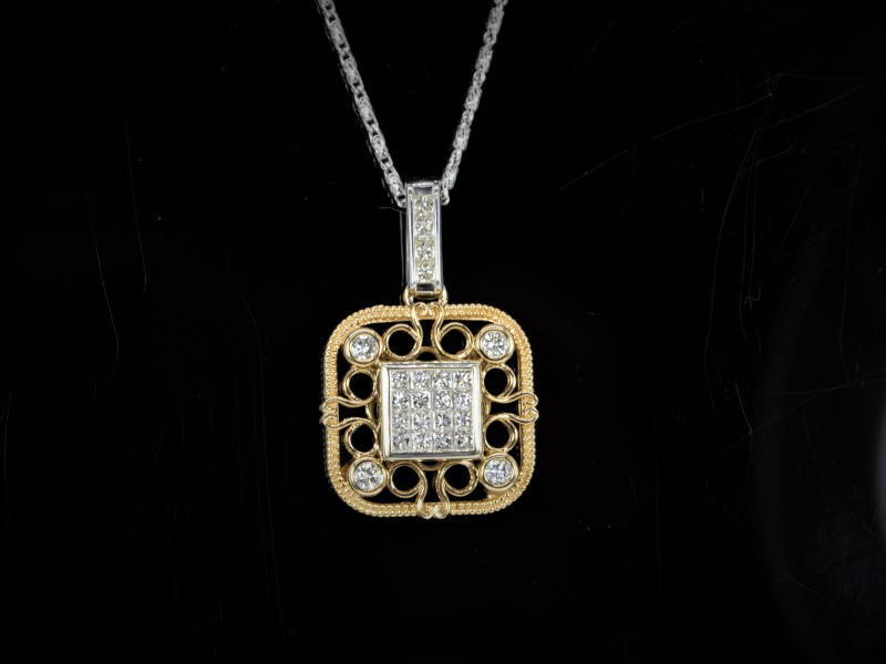Pendants & Necklaces - Invisible Scroll Custom Square Pendant - image 3