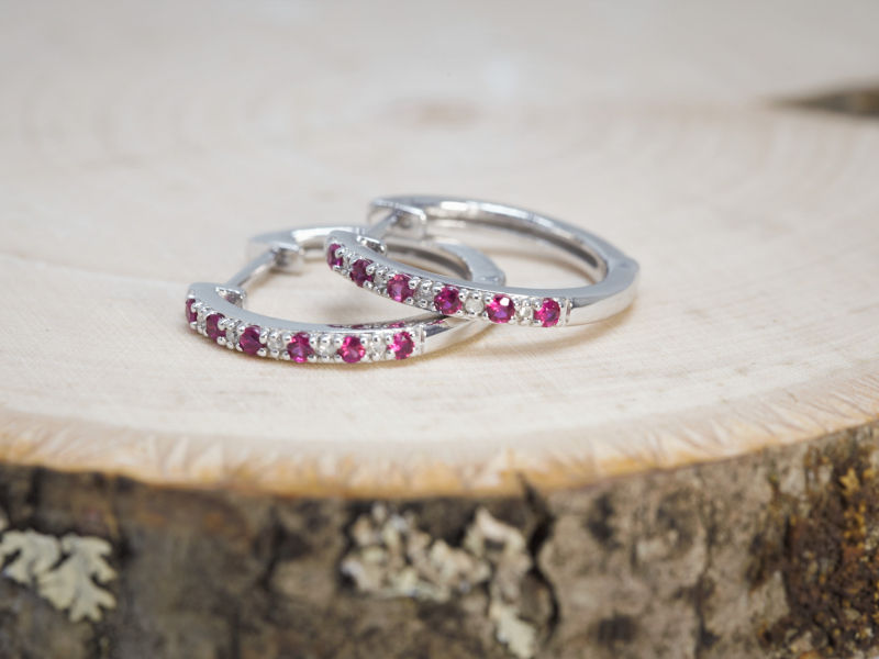 Earrings - Ruby and Diamond Hoop Earrings in White Gold - image 2
