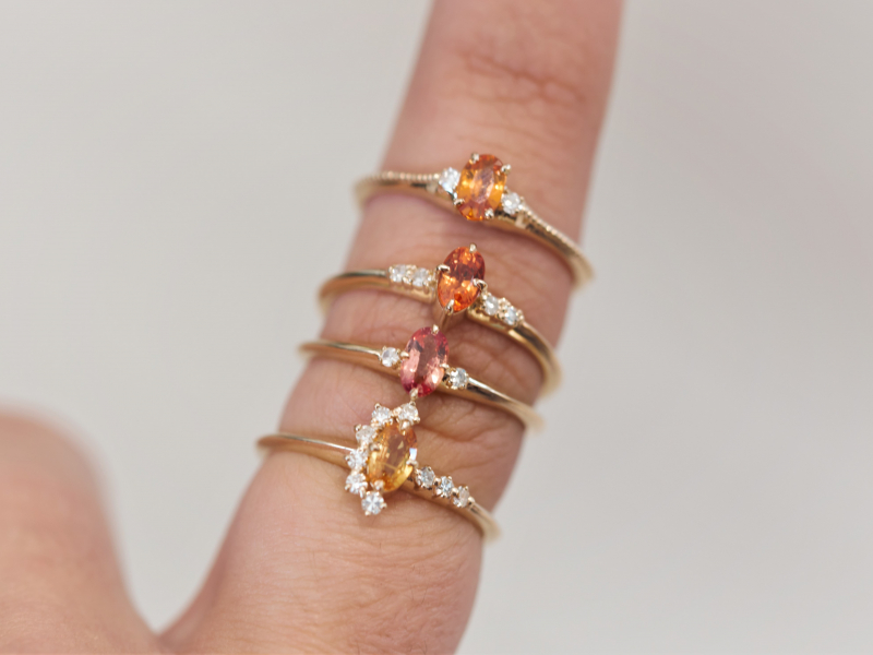 colorful sapphire rings, orange sapphire rings, sweet 16 rings,  Orange Sapphire Ring 14k Royal Yellow Gold