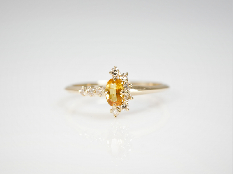yellow sapphire ring, crescent moon ring diamonds, trendy custom rings, dainty rings, sapphire moon ring - Yellow Sapphire Cr