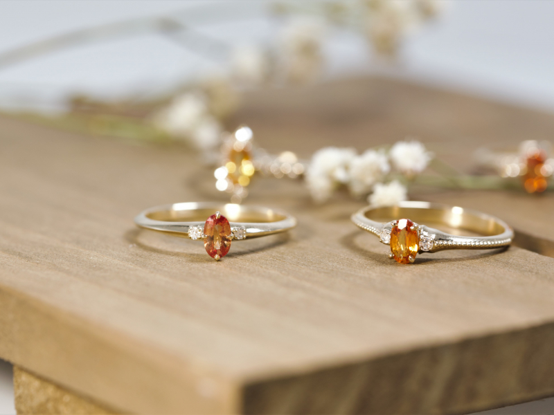 Reddish orange sapphire ring, dainty gemstone rings, 14k gold sapphire rings Peachy Sapphire and Diamond 3 Stone Ring