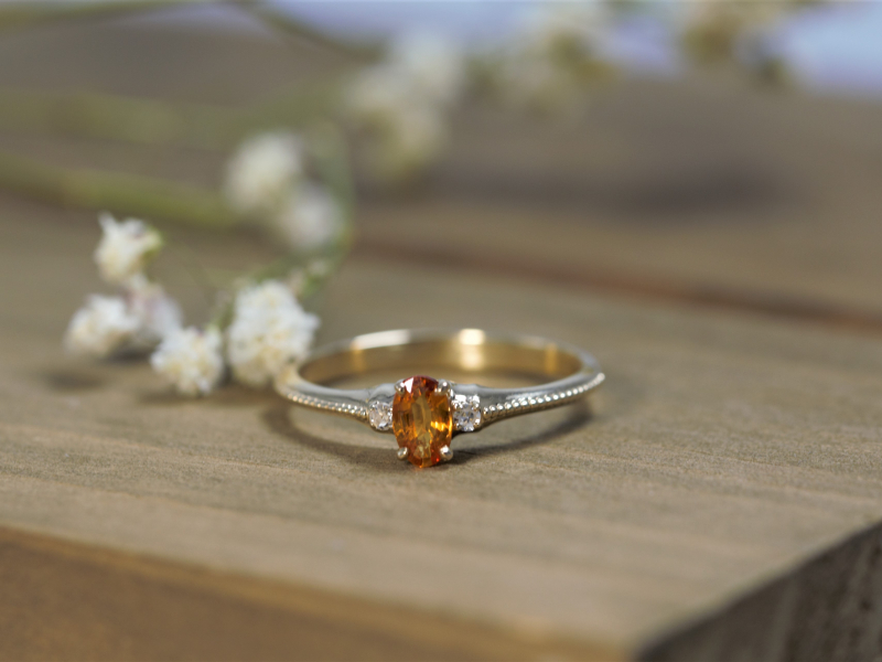 dainty orange gemstone rings, simple sapphire rings, custom sapphire rings,  Orange Sapphire Ring 14k Royal Yellow Gold