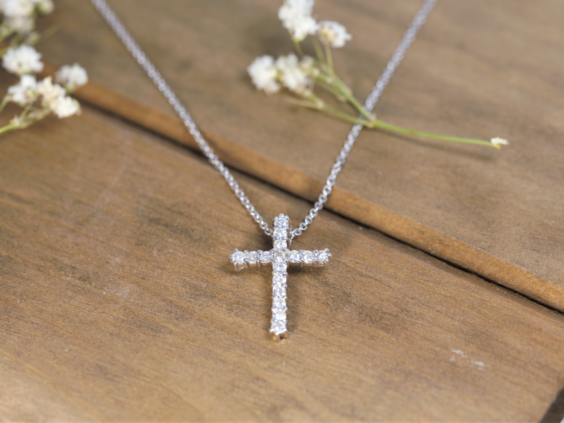 custom diamond cross, diamond pendant, custom cross pendant, 1 carat diamond cross Diamond Cross Pendant 14k White Gold